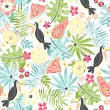 Tropical Pattern With Toucans And Plants Royalty Free Stock Photography