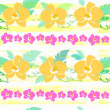 Tropical pattern with yellow orchids Stock Photo