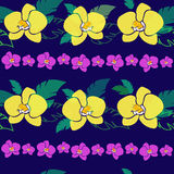Tropical pattern with yellow orchids. Vector seamless pattern with yellow orchids, tropical wallpaper Stock Photo