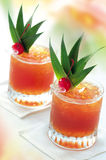 Tropical peach juice. Two glasses of tropical peach juice Royalty Free Stock Photography