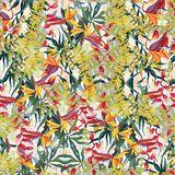 Tropical pictorial pattern. Oil painting on canvas. Handmade stock illustration