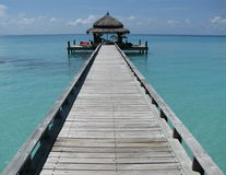 Tropical pier - the Maldives Royalty Free Stock Photos