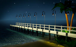 Tropical pier at night Royalty Free Stock Photography