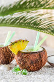 Tropical pinacolada in coconut with pineapple and mint leaves Royalty Free Stock Image