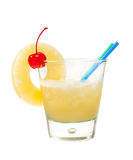 Tropical pineapple cocktai. isolated Royalty Free Stock Images
