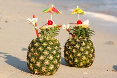 Tropical pineapple cocktail Royalty Free Stock Photography