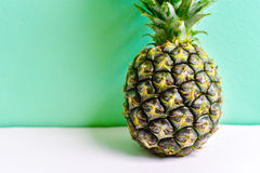Tropical Pineapple Isolated on Green Background Stock Photography