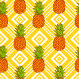 Tropical Pineapples Background Stock Photos