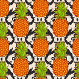 Tropical Pineapples Background Stock Photography