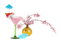 Tropical pink cocktail Stock Photography