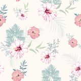 Tropical pink hibiscus flowers with blue herbs seamless pattern. Watercolor style floral background. For invitation, fabric, wallpaper, print. Botanical texture stock illustration