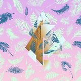 Tropical pink illustrations with geometric gold elements, watercolor palms, grey marble texture and collage effects for music cove. R, glamour banner, print Stock Photography