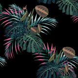 Tropical pink palms leaves and other exotic plants seamless pattern . Palm tree leaves decoration on black background. vector illustration
