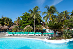Tropical places. Tropical resort and swimming pool in Mexico Royalty Free Stock Images