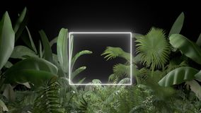 Tropical plant with neon light on an black background stock illustration