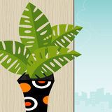 Tropical Plant Retro-Stylized. Colorful interior with retro-stylized tropical plant and city view; easy-edit layered file. Plant is whole so you can move it stock illustration