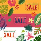 Tropical Plants Banners Set Royalty Free Illustration
