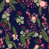 Tropical plants and flowers seamless pattern. Tropical seamless pattern with stylized pink and red flowers and palm leaves Royalty Free Illustration