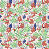 Tropical plants and flowers with toucan, parrot, flamingo birds. Exotic seamless decorative background  illustration Stock Photo
