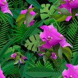 Tropical plants painting seamless background Stock Photos