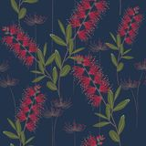 Tropical plants, paradise flowers and leaves seamless pattern on a dark blue background. Stock Image