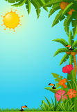 Tropical plants and parrots. Stock Photo