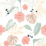 Tropical plants and pastel hibiscus. Seamless tropical pattern, background. stock illustration