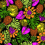 Tropical plants pattern Stock Images
