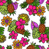 Tropical plants pattern Royalty Free Stock Photo