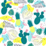 Tropical plants seamless pattern with  flamingos. Stock Photo