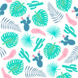 Tropical plants seamless pattern with leaves and cactuses. Stock Images