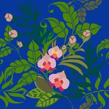 Tropical Plants Seamless Pattern, Tropical Flowers and Leaves on Royal Blue vector illustration