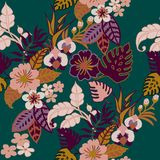 Tropical Plants Seamless Pattern, Tropical Jungel Leaves, Vines and Flowers on Quetzal Green Repeated Pattern Backround stock illustration