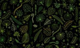 Tropical plants, seamless pattern Royalty Free Stock Photo