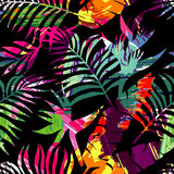 Tropical plants silhouette painting brash seamless background Stock Photos