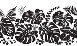 Tropical Plants  Silhouette Pattern. Seamless line horizontal pattern made with tropical plants silhouette. Black and white floral texture with leaves in row Royalty Free Stock Photo