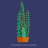 Tropical plants, vector cactus in flat style. Royalty Free Stock Photography