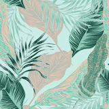 Tropical plants. Wild seamless pattern vector with tropical plants in a trend. stylish, vector, plant, exotic illustration royalty free illustration