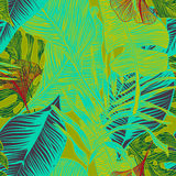 Tropical plants. Wild seamless pattern vector with tropical plants in a trend. stylish, vector, plant, exotic illustration Royalty Free Stock Image