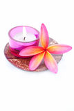 Tropical Plumeria with Aramotherapy candle Royalty Free Stock Images