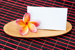 Tropical Plumeria with blank paper note Royalty Free Stock Photos