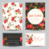 Tropical Pomegranates, Flowers and Leaves. Wedding Invitation Card Stock Images