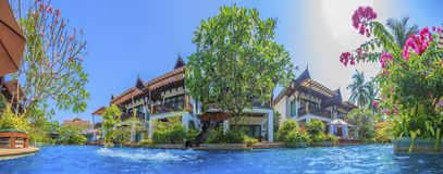 Tropical pool area in Thailand. Tropical pool area on Phuket during daytime in Thailand / Asia stock photo