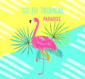 Tropical postcard. Summer background with flamingo and palm leaves. Stock Images
