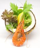 Tropical Prawn Salad. Boiled Tiger Prawn Salad accompanied with Lemon and Mesclun Mix Salad in a coconut Stock Images