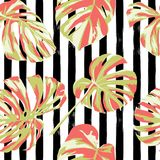 Tropical Print. Jungle Seamless Pattern. Vector Tropic Summer Motif with Hawaiian Flowers. Tropical Print. Jungle Seamless Pattern. Vector Illustration of royalty free illustration