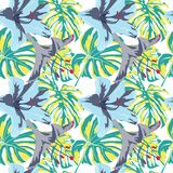 Tropical Print. Jungle Seamless Pattern. Vector Tropic Summer Motif with Hawaiian Flowers. Tropical Print. Jungle Seamless Pattern. Vector Illustration of stock illustration