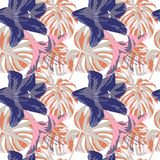 Tropical Print. Jungle Seamless Pattern. Vector Tropic Summer Motif with Hawaiian Flowers. Tropical Print. Jungle Seamless Pattern. Vector Illustration of Royalty Free Stock Photos