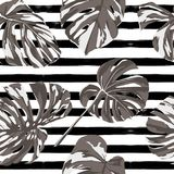 Tropical Print. Jungle Seamless Pattern. Vector Tropic Summer Motif with Hawaiian Flowers. royalty free illustration