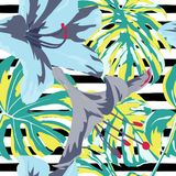 Tropical Print. Jungle Seamless Pattern. Vector Tropic Summer Motif with Hawaiian Flowers. Interior DesignnSwimwear Design. n n royalty free illustration